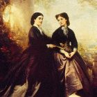 Clementine mit ihrer älteren Schwester Emma (Ölgemälde von Philipp Rumpf)